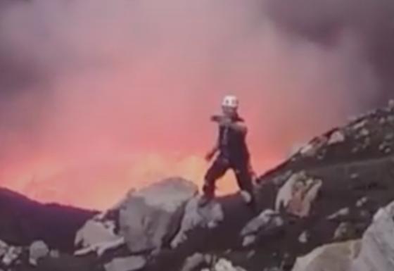 Extreme Selfie In Front Of Erupting Volcano