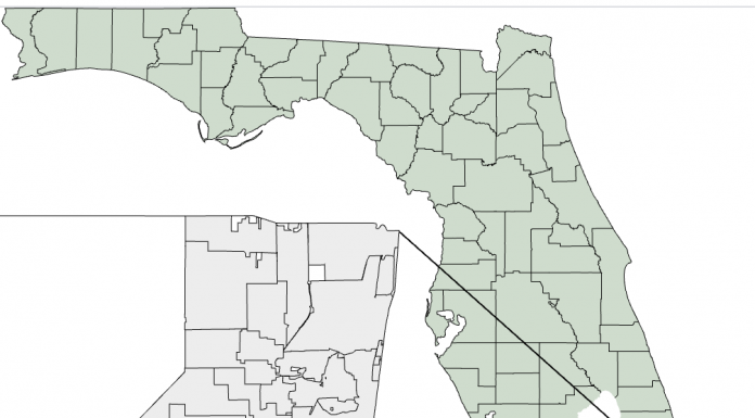 Map showing location of Davie, Florida