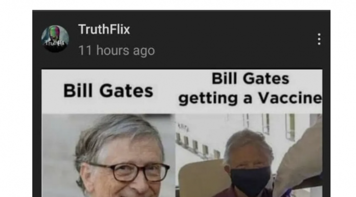 Bill Gates with and without a face mask