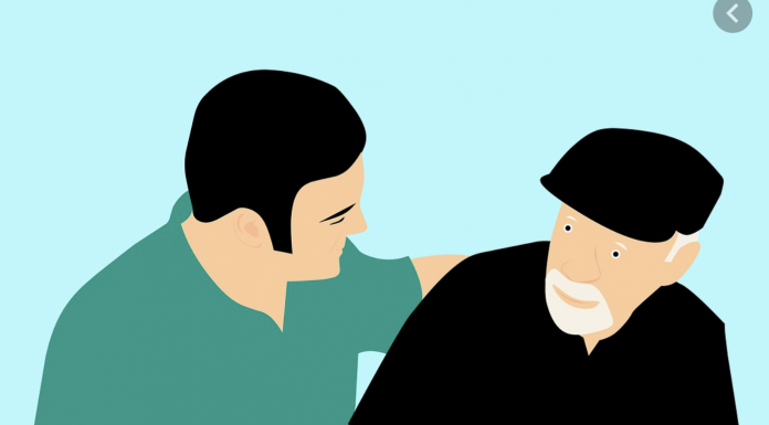Illustration of elderly man with health aide