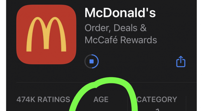 Screenshot of McDonald's smartphone app download screen