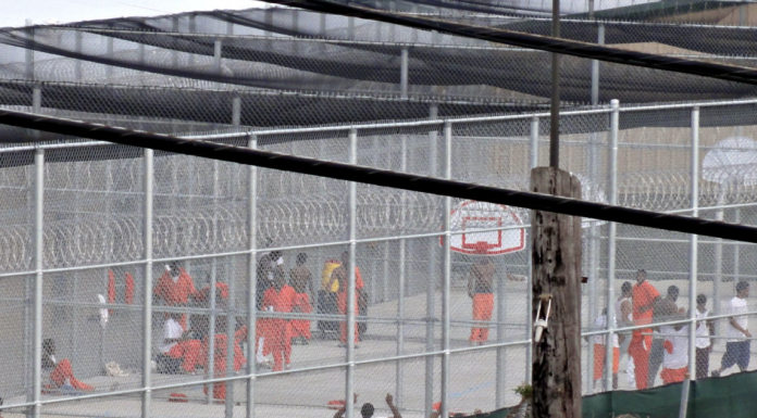 Prisoners in exercise yard