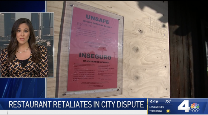 A Burbank restaurant at the center of a fight with the city over COVID-19 restrictions is fighting back after the city boarded up the building and arrested the owner's son.