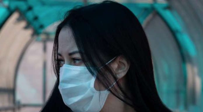 Woman wearing mask to prevent against Covid