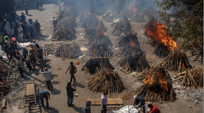 Funeral pyres of victims of COVID-19