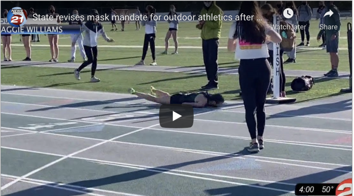 Video shows the moment a record-setting high school athlete collapses after wearing a mask while running in competition
