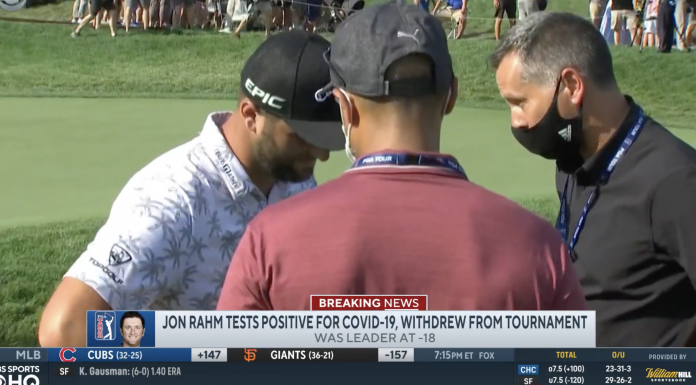 Jon Rahm took a commanding six-stroke lead in Round 3 before being informed of a positive COVID test as he left the course