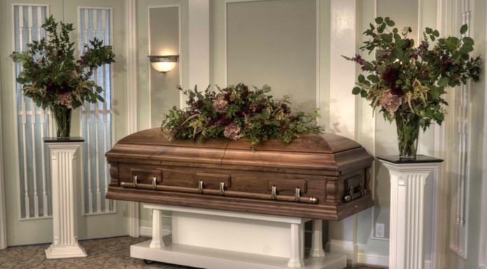 Casket in funeral home