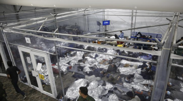 Minors are shown inside a pod at the Donna Department of Homeland Security holding facility, the main detention center for unaccompanied children in the Rio Grande Valley run by U.S. Customs and Border Protection (CBP), in Donna, Texas.