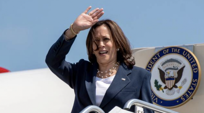 Vice President Kamala Harris arrives at Greenville-Spartanburg International Airport in S.C., on Monday, June 14, 2021. Harris is stopping in South Carolina to kick off a nationwide push by the White House to get more Americans vaccinated against COVID-19 before the July 4 holiday. (John A. Carlos III//The Post And Courier via AP) JOHN A. CARLOS II AP