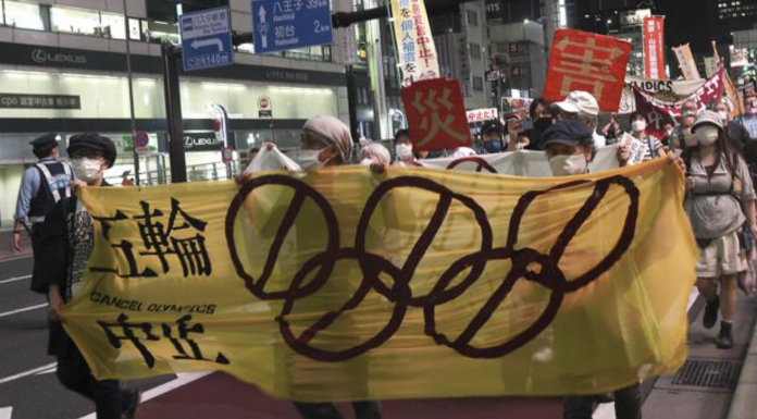 Protesters call for the cancellation of the Tokyo Olympics